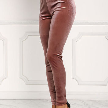 Mauve Velvet High Rise Leggings