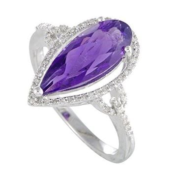 Luxury Bazaar 14K White Gold Diamonds and Pear Shaped Amethyst Ring