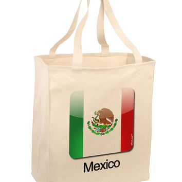 Mexican Flag App Icon - Text Large Grocery Tote Bag by TooLoud