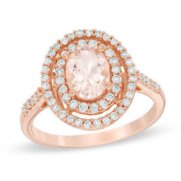 Precious Bride™ Oval Morganite and 1/2 CT. T.W. Diamond Double Frame Engagement Ring in 14K Rose Gold - View All Rings - Zales