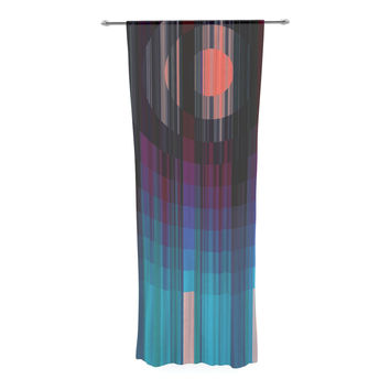 "Nina May ""Nova Sun"" Blue Geometric Decorative Sheer Curtain"