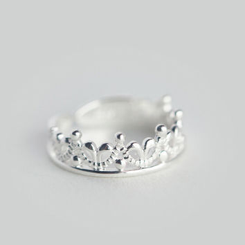 925 sterling silver Princess crown opening ring\ tail ring,sweet lovely ring,a perfect gift
