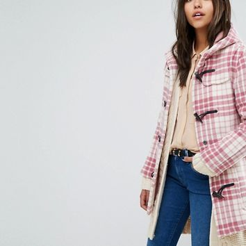 Gloverall Exclusive Classic Mid Length Duffle In Pink Check at asos.com