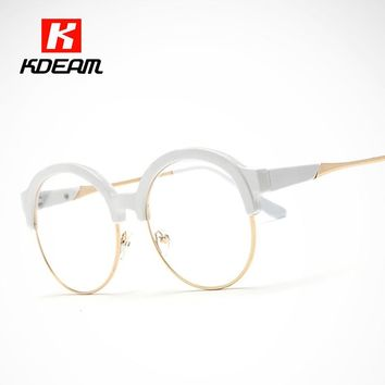 Fashion Witchcraft School Round Glasses Frame Porcelain White Eyeglasses For Women lentes opticos mujer With Case UV400 CE