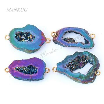 DRF133 Agates Geode Drusy Druzy Pendant Charm Random Shape Druzy Jewelry Connector for Bracelet Necklace Making 19*24mm-19*39mm