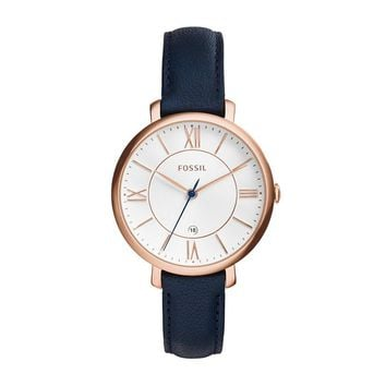 Fossil |Jacqueline Quartz Stainless Steel and Leather Casual Watch