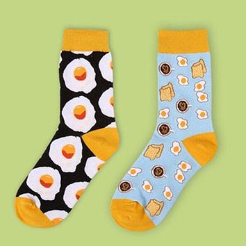 Japan Egg Omelette Funny Cartoon Foods Printed Female Socks Cute Cotton Kawaii Socks Casual Slippers Harajuku Characters Socks