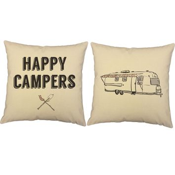 Happy Campers Throw Pillows