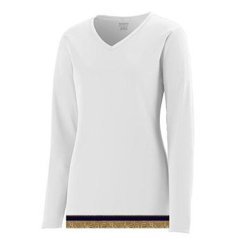 Women's Performance White Long Sleeve T-shirt With Fringes