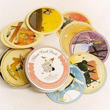 Pinocchio & Grimm fairy tales Round Illustration Paper Sticker and card in tin case