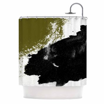 Imprints - Black Gold Abstract Painting Shower Curtain