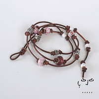 Joowels Women's Multi Strand Bracelet/Necklace (Pink and Silver)