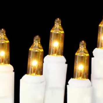 Gold Mini Christmas Lights - 10 Bulbs On White Wire