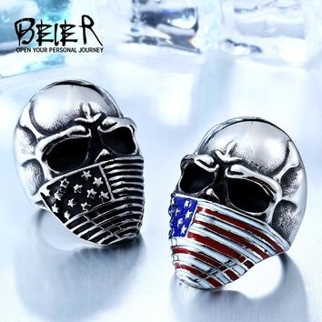 American Flag Stainless Steel Skull Ring for Man Personality Biker Jewelry