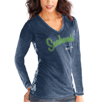 Seattle Seahawks Touch by Alyssa Milano Women's Audrey Long Sleeve T-Shirt - College Navy