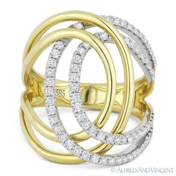0.74 ct Round Cut Diamond Right-Hand Overlap Loop Wrap Ring in 14k Yellow Gold