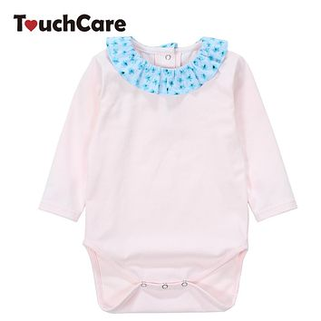 Baby Girl Rompers Summer Solid Long Sleeve Newborn Jumpsuit Soft Cotton Flowers Ruffle Baby Clothes Infant Romper Costume
