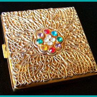 Vintage Rhinestone Jeweled Compact Signed Columbia 5th Ave Gold Filigree 1940s VG