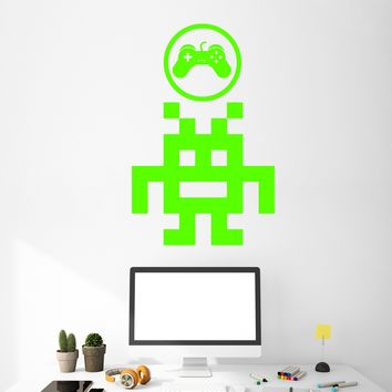 Vinyl Wall Decal Pixel Art Retro Video Game Joystick For Gamer Room Stickers (2430ig)
