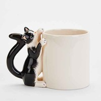 Plum & Bow Climbing Cat Mug- Black & White One