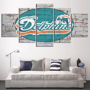 Giclee Print Modular Wall Art Miami Dolphins Canvas Painting Home Decor Poster Picture for Living Room Frame Artwork