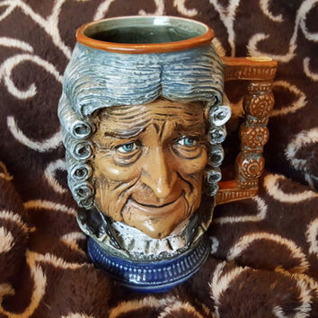 Vintage S Orvis RIP Vietata Art 2598 Hand Painted Ceramic Character Mug, Large Beer Stein Made in Italy