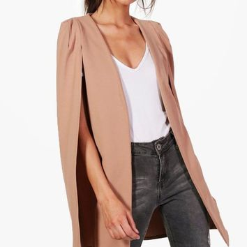 Olivia Longline Tailored Crepe Cape | Boohoo