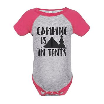Custom Party Shop Girl's Camping is in Tents Outdoors Raglan Onepiece