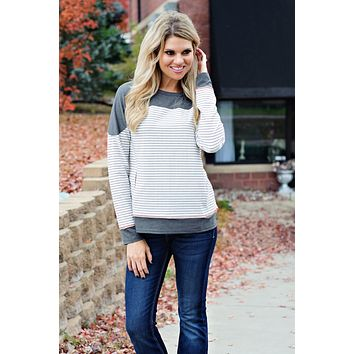 * Its A Beautiful Morning Striped Top: Grey