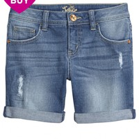 DESTRUCTED MID THIGH DENIM SHORTS | GIRLS SHORTS BOTTOMS | SHOP JUSTICE