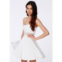 Missguided - Meshia White Strappy Mesh Swing Dress