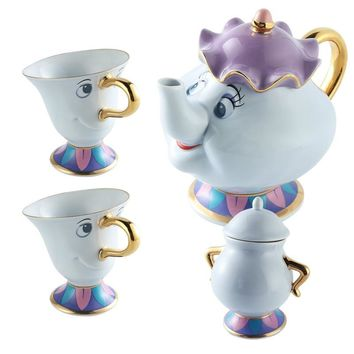New design Cartoon Beauty And The Beast Tea Set Mrs Potts Teapot Chip Cup Sugar Bowl Pot Set Coffee Kettle Birthday Xmas Gift