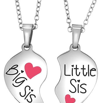 2 Piece Valentine's Day Heart Halves Matching Big Sis Little Lil Sis Sisters Necklace Set Jewelry Gift Best Friends