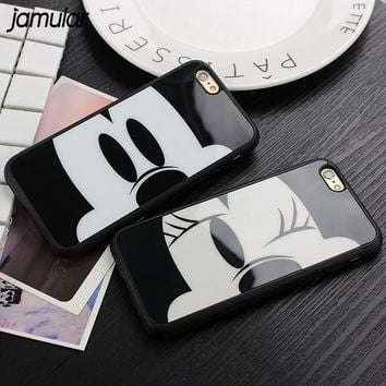 JAMULAR Mirror Case For iPhone 7 6 6S Plus 5S SE Capa Mickey Minnie Mouse Silicone Phone Cover for iPhone X 8 6 6s 7 Plus Cases