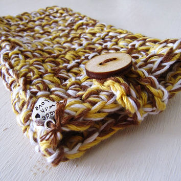 Organic Cotton Cozy Smartphone Case - Crochet iPhone/iPod Sleeve -  Honey, Milk and Chocolate- Rustic  - Summer Trend - Boho -  Gift for Her