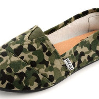 Corkys Girl's Sues Green Camo Slip-On Shoes