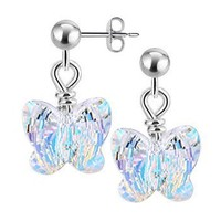 SCER503 925 Sterling Silver Clear AB Drop Handmade Earrings Made with Swarovski Crystal Elements