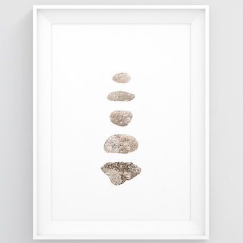 18x24 poster, 11x17 poster, 8x10 poster, A3 poster, A4 poster - Rock poster, Stone wall decor, Pebble decor, Rock wall art, Neutral wall art