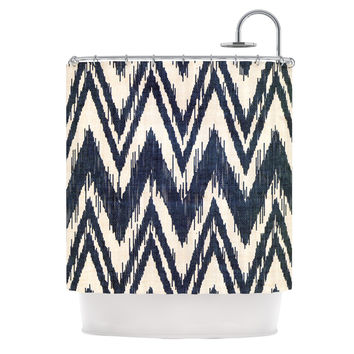 "Heidi Jennings ""Tribal Chevron Black"" Shower Curtain"