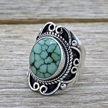 Estate Southwestern Sterling Silver and Turquoise Ring Handmade 925 Jewelry