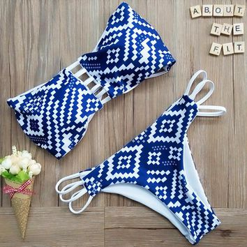 Blue & White Bandeau Top Strappy Two Piece Bikini Set