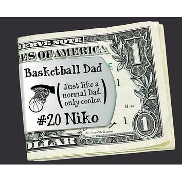 Basketball Dad Personalized Money Clip