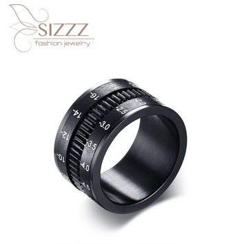 Fashion Men Titanium Ring High Quality Black Titanium Wedding Rings For Men And Women spinner Camera shape adjustable 2017 Hot