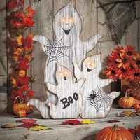 Halloween Decoration Wooden Outdoor Yard Porch Large Ghost Pumpkin Black Cats