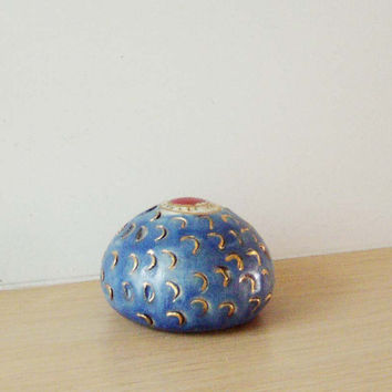 Blue ceramic sea urchin, stoneware high fire pottery with fired gold, blue, red and gold ceramic paperweight