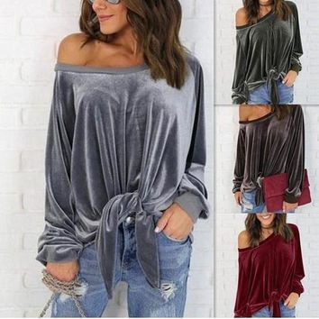 ESBON Women Simple Casual Solid Color Loose Long Sleeve Oblique Collar Bow Bandage T-shirt Tops
