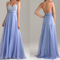 long chiffon prom dresses with rhinestone / sexy v-neck gowns for evening party / unique halter holidar dress cheap