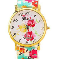 Pink and Yellow Roses and Floral Silcone Watch Band