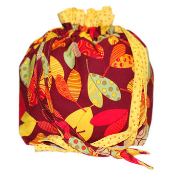 NEW Fall Project Bag | Two at a Time Knitting Bag | Leaves Drawstring Bag with Divider | Knitting Project Bag Organizer