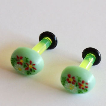 8g 3mm Green Floral Cameo Plugs by Glamsquared on Etsy